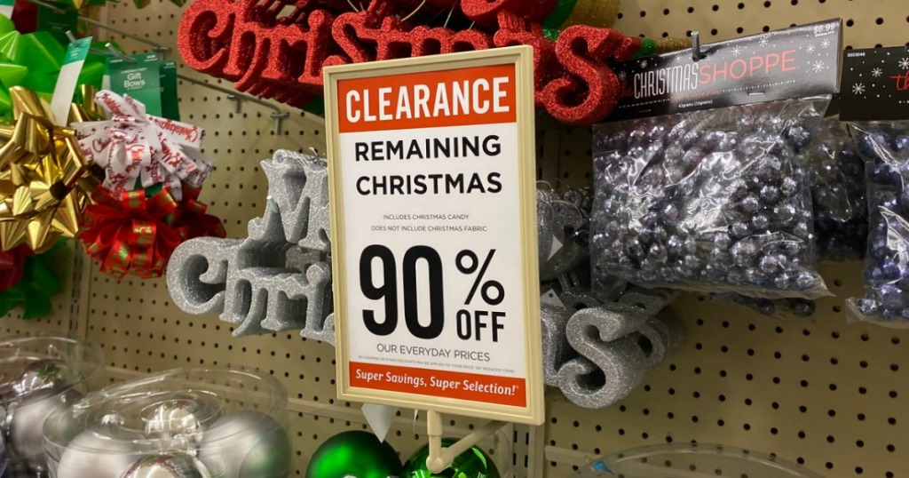 Hobby Lobby Christmas clearance in-store display