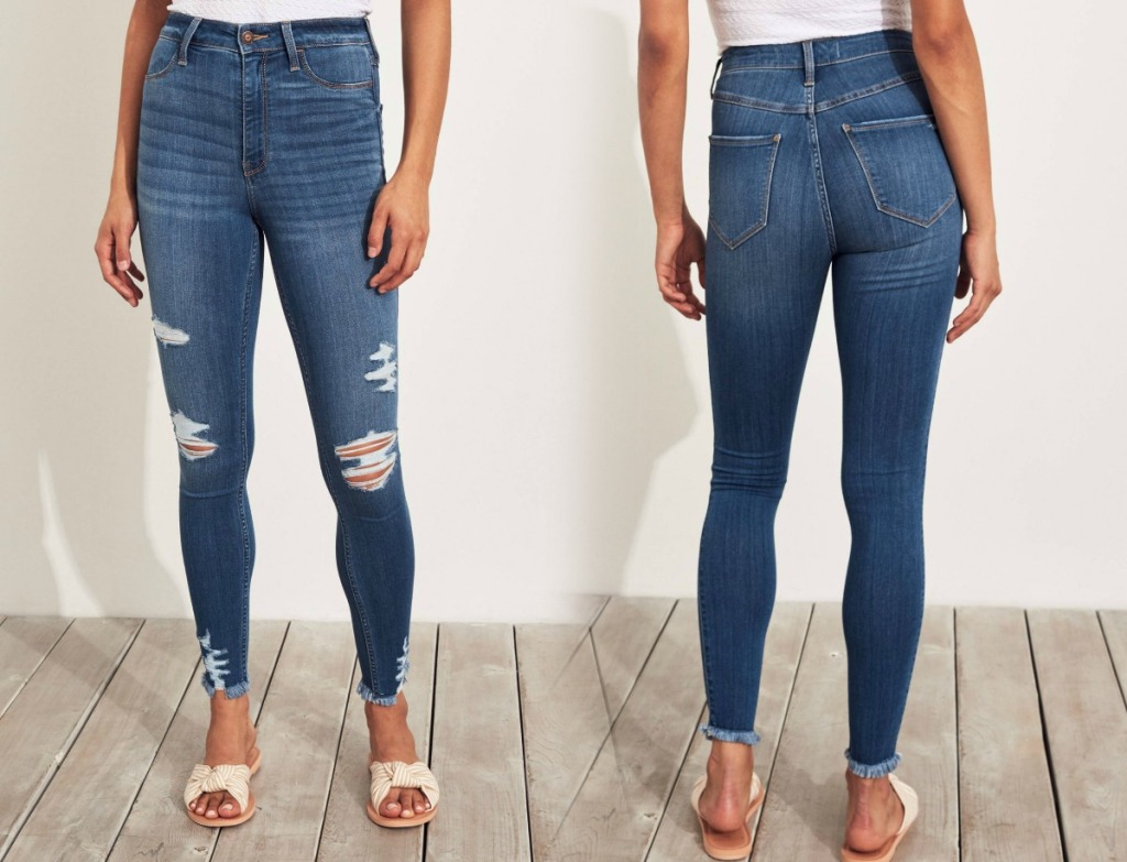 Two women wearing stretch high rise jeans - front and back view