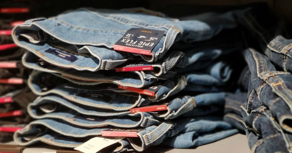 Hollister Jeans on Store Shelf
