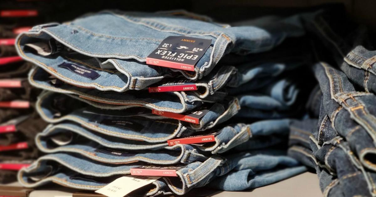 Hollister Jeans on Store Shelf