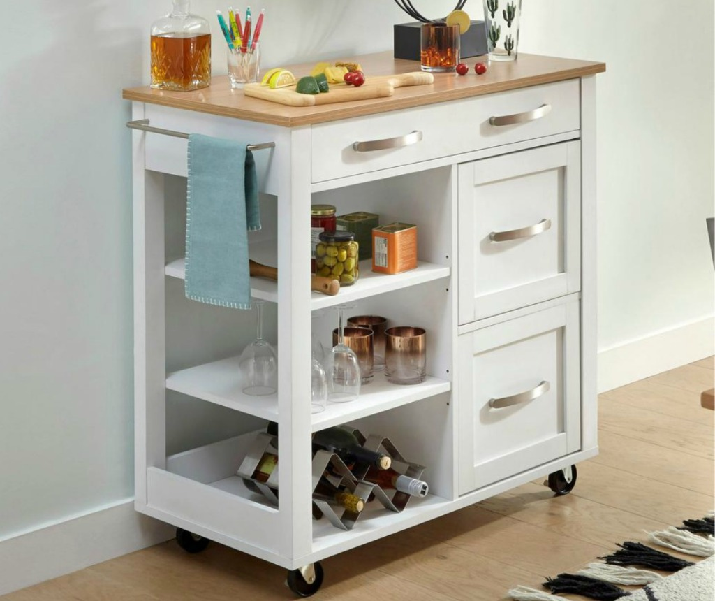 White kitchen storage cart with wooden top and built-in towel rack