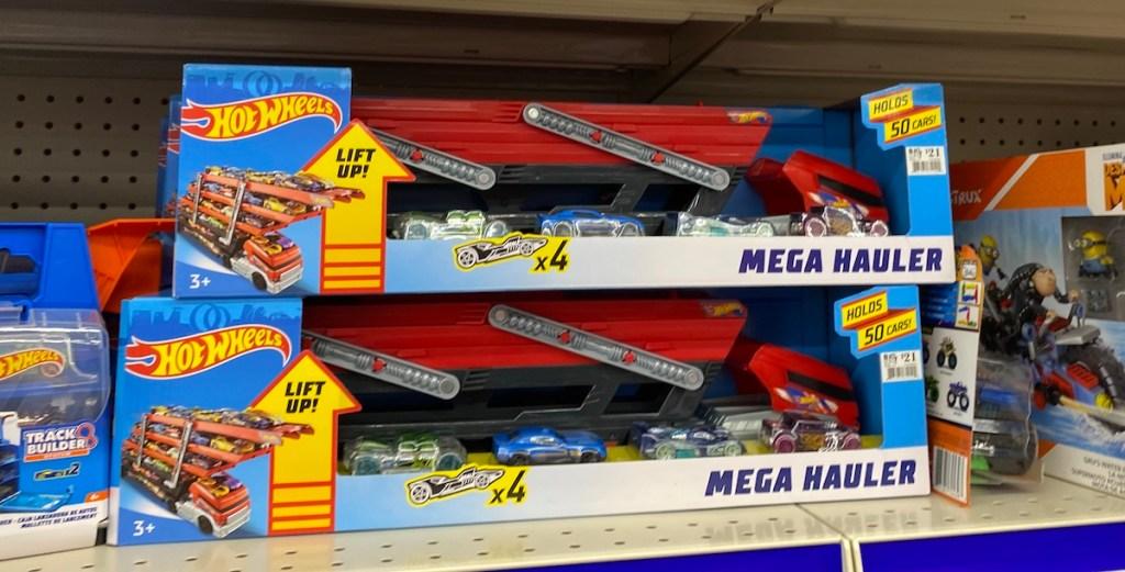 Hot Wheels Mega Haulers on shelf at Big Lots