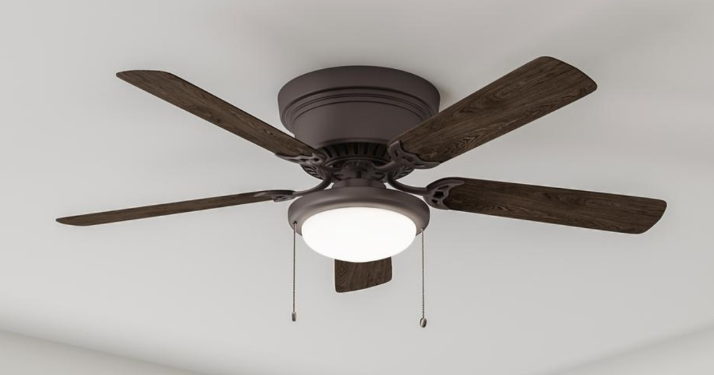 brown fan with 5 blades and light bowl with chains