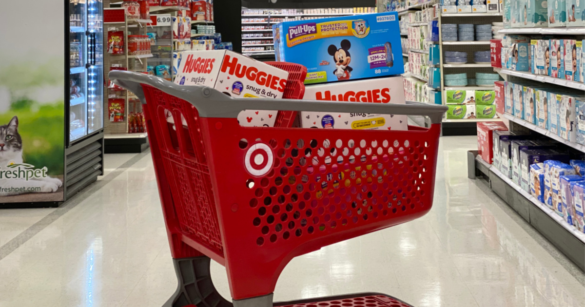 target cart filled with huggies diapers and pull-ups