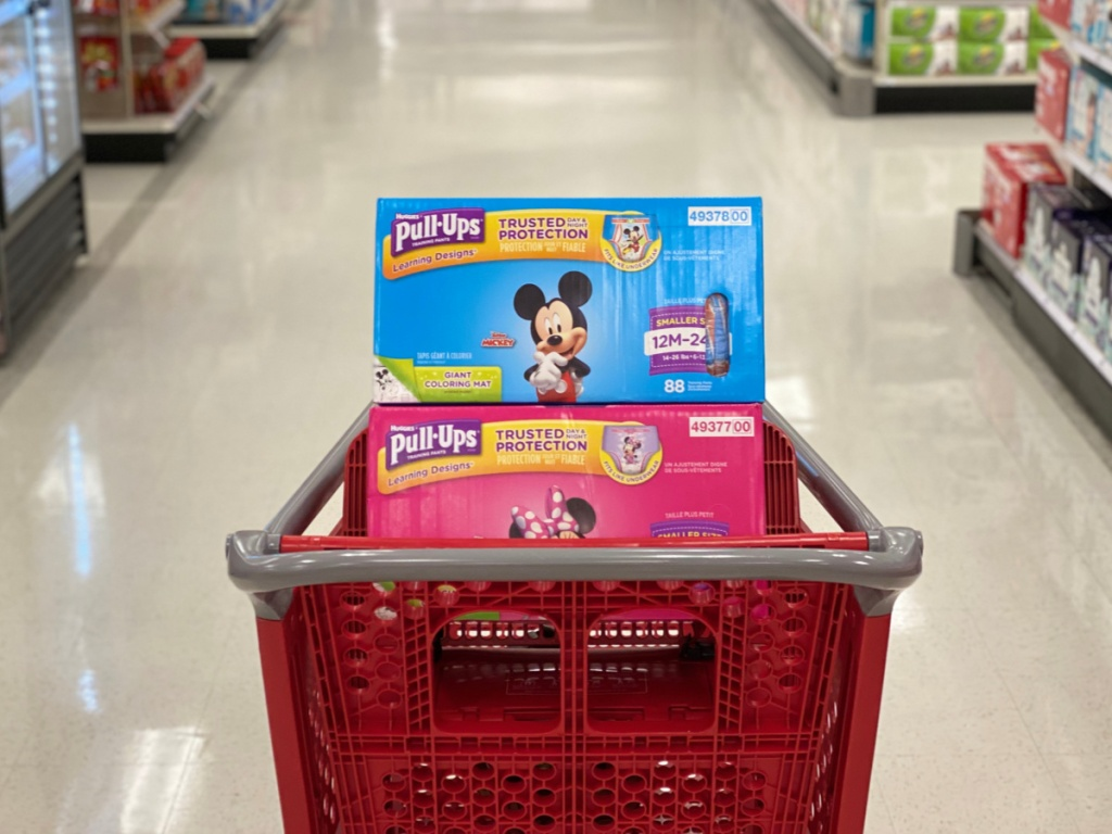mickey and minnie huggies pull-ups in target cart in store
