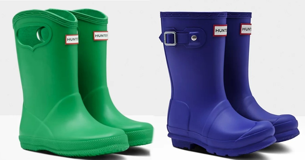 Hunter Kids Rain Boots in green and blue