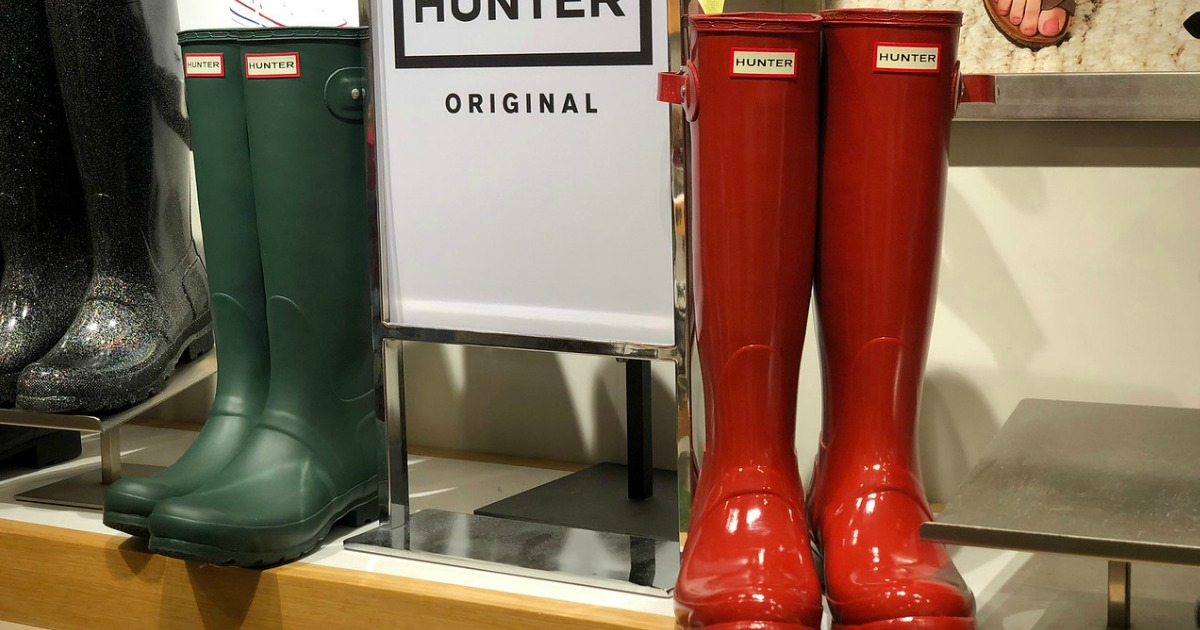 Hunter boots on display
