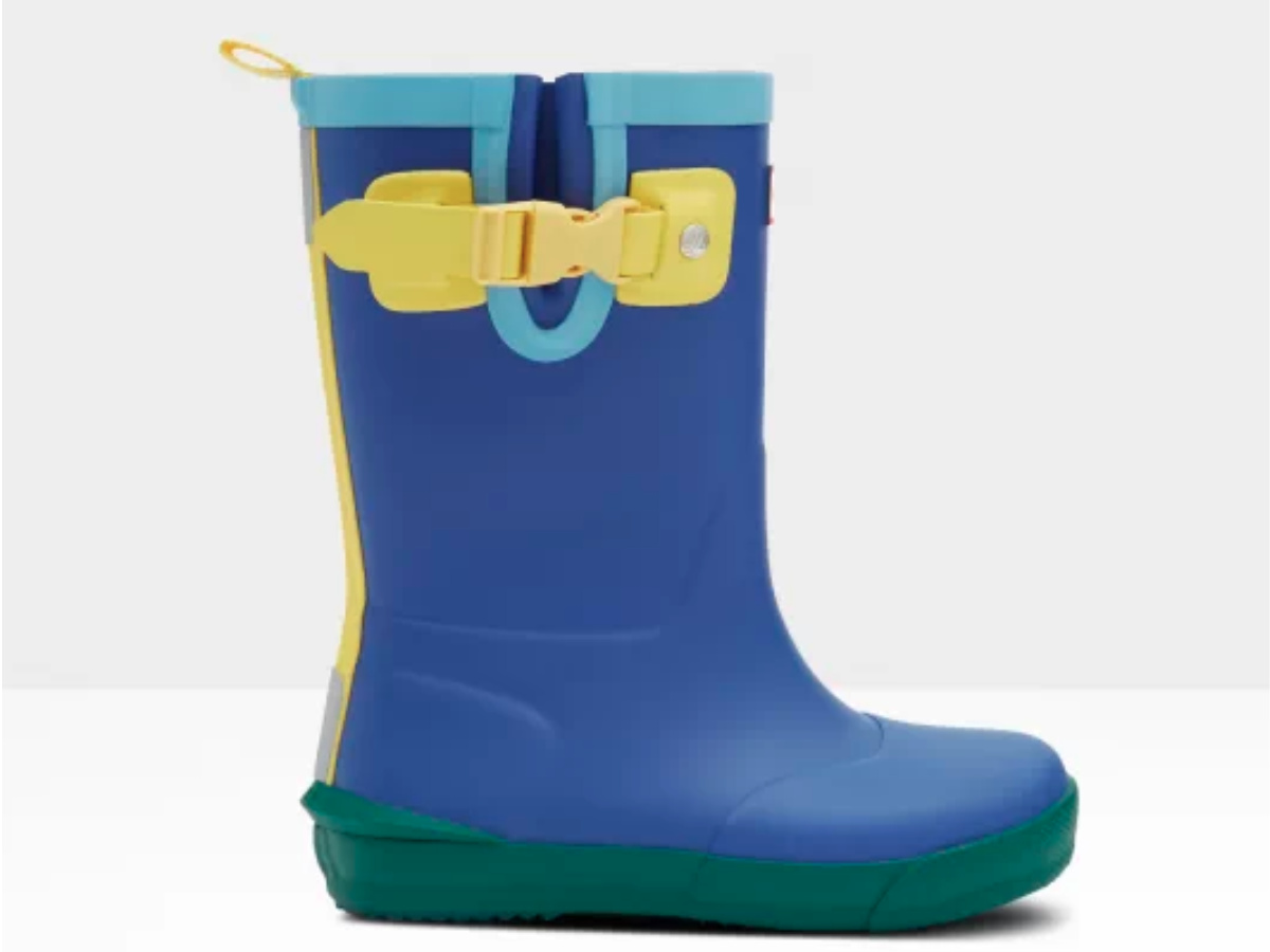 side view of kids blue yellow and green hunter boots