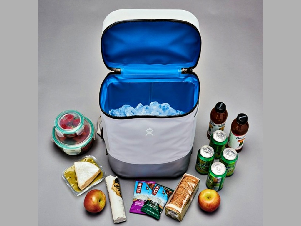 Hydro Flask Unbound 22L Soft Cooler Pack with items that can fit inside