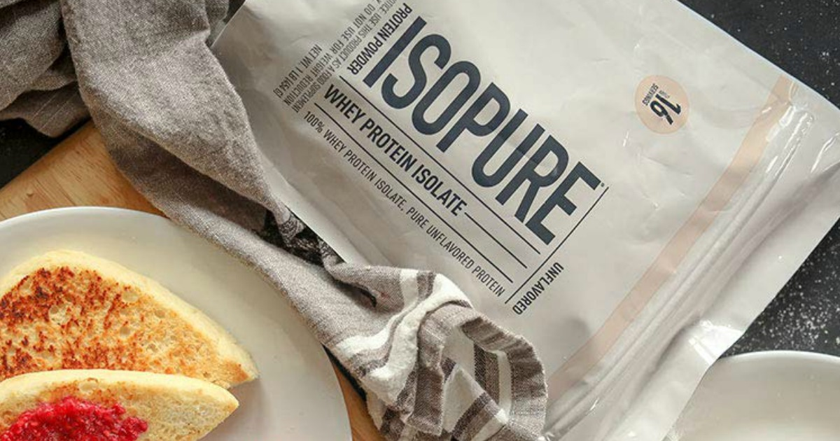 ISOPURE Whey Protein next to english muffins