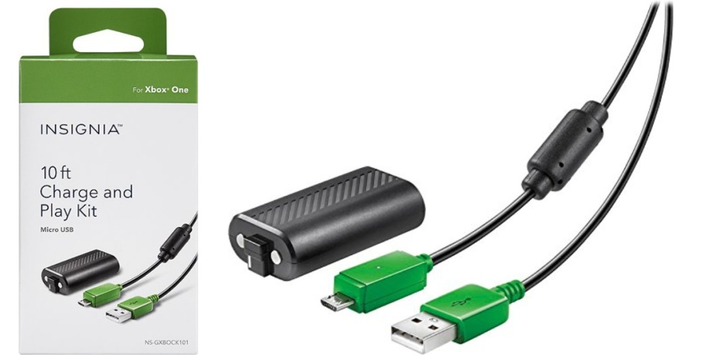 insignia charge and play k it box and cords and charger