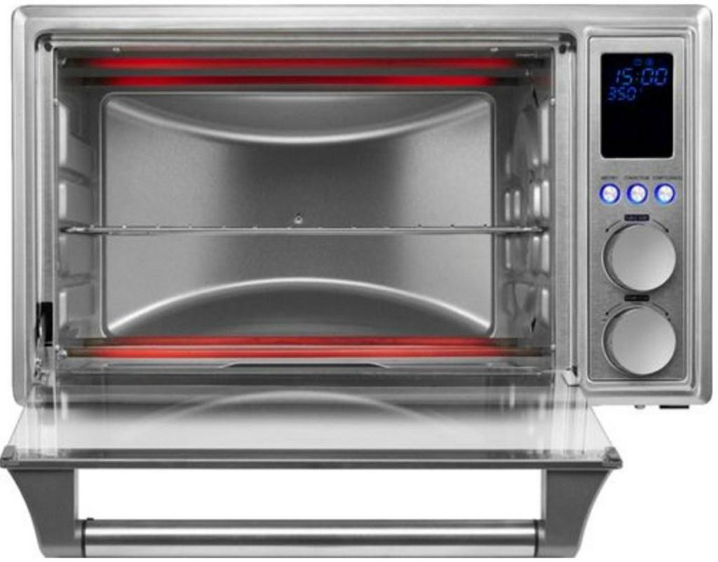 empty Insignia toaster oven with door open