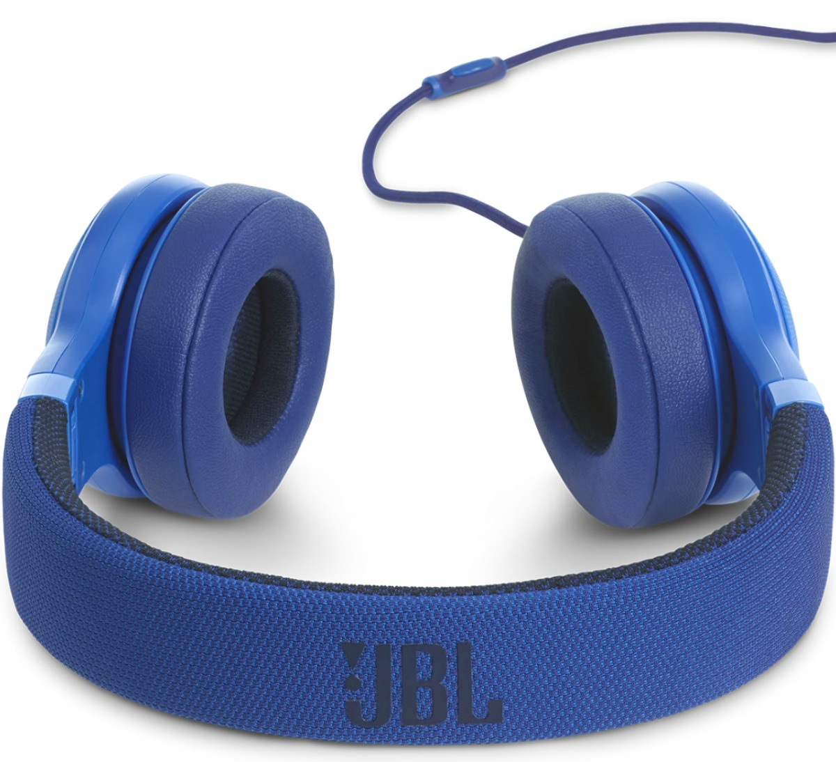 Blue wired headphones with cushioned ear pads