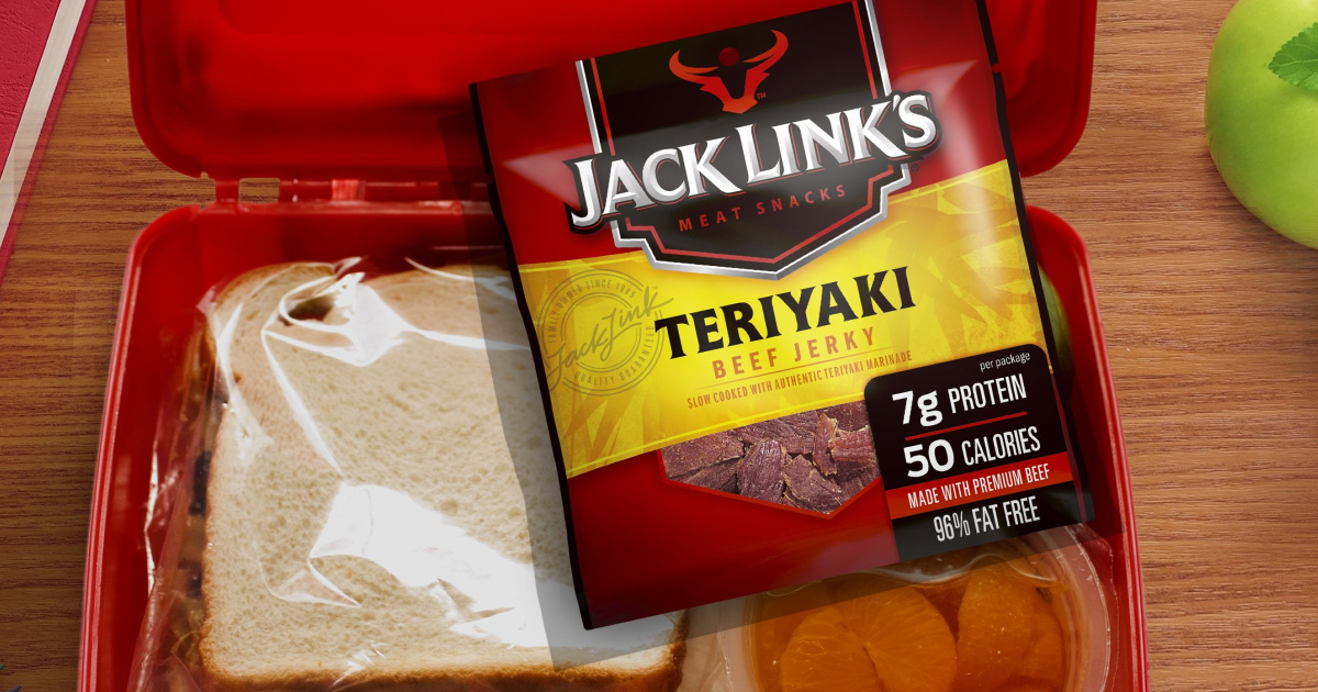 sandwich and pack of Jack Link's jerky in a lunch box