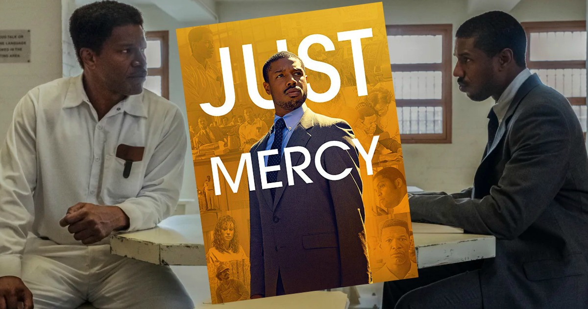 Scene from the movie Just Mercy with movie poster