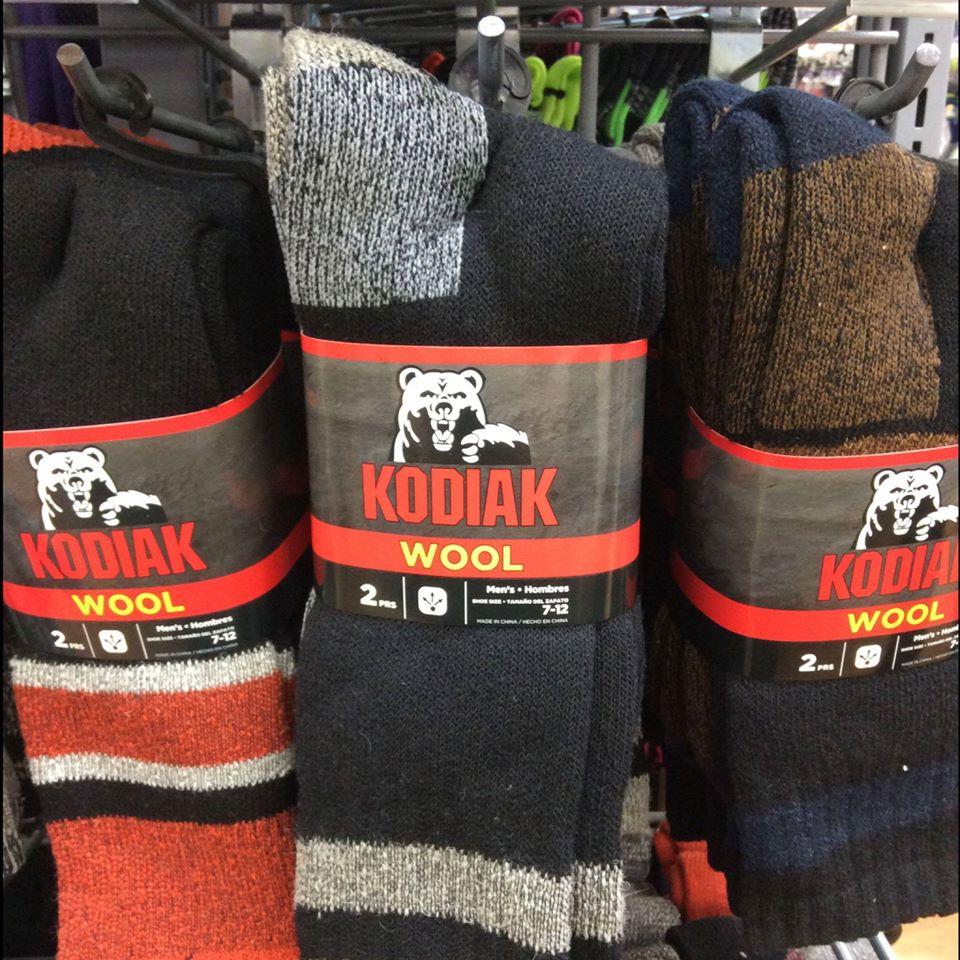 Kodiak Wool Socks on Walmart Peg Shelf