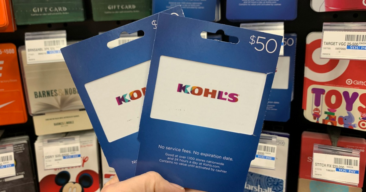 Gift card in front of rack