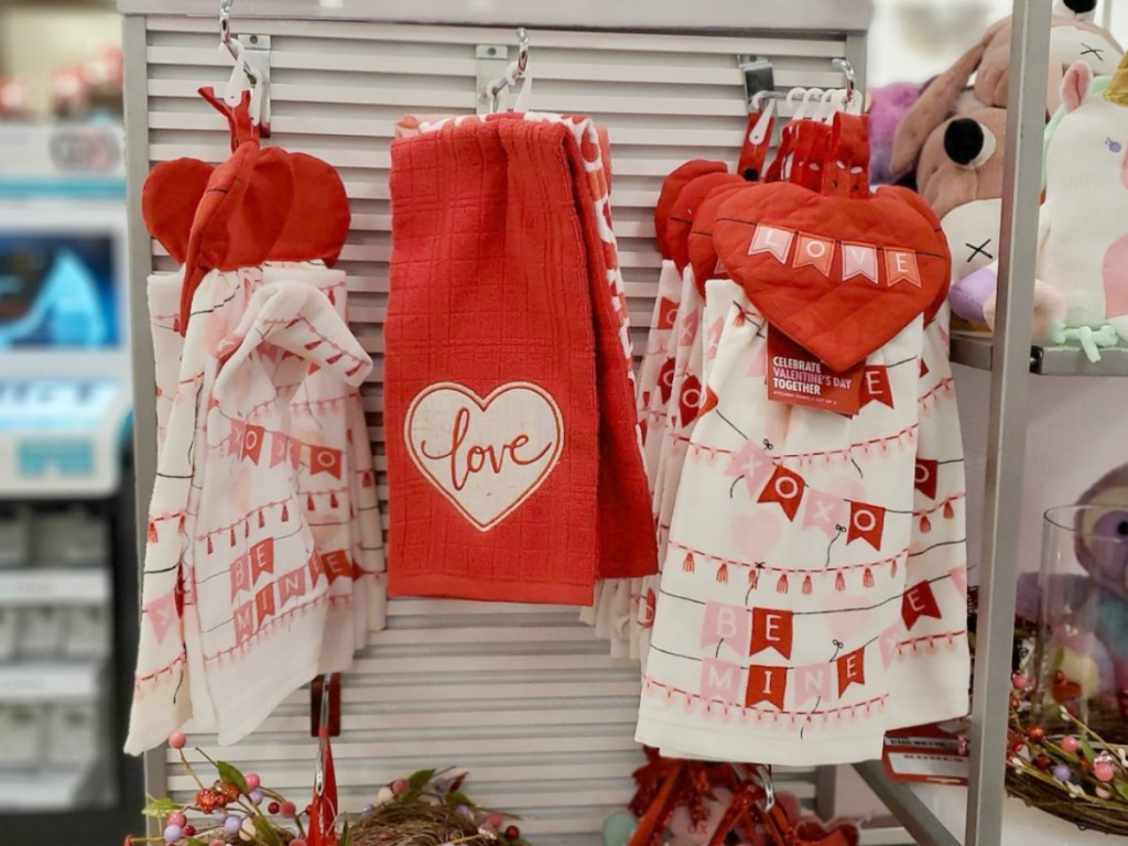 In-store display of Valentine's Day-themed kitchen towels