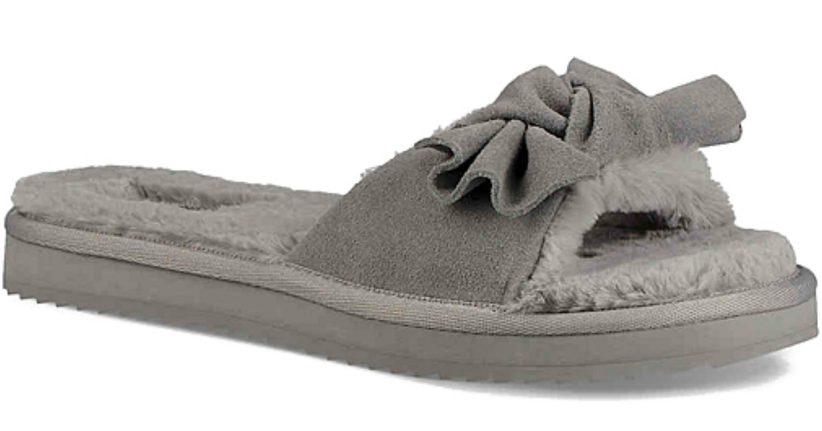 gray women's slippers with a bow