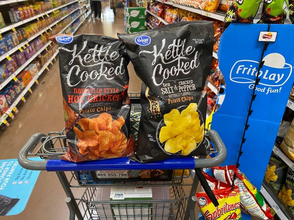 Kroger Kettle Cooked Chips in Kroger cart