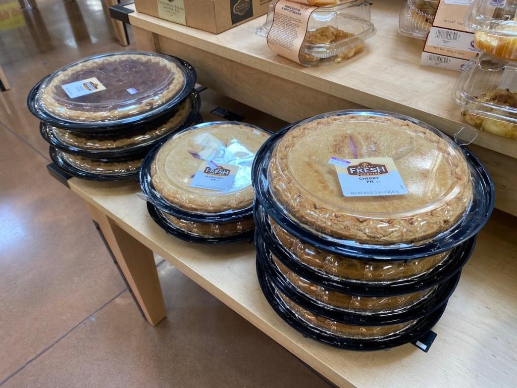 Kroger Pies on display tables