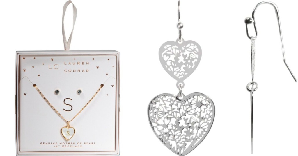 LC Lauren Conrad Necklace in box and pair of heart Earrings