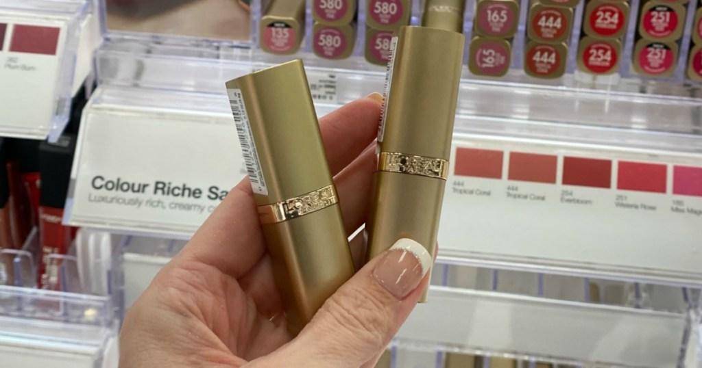 L'Oreal Paris Lipstick in hand in-store