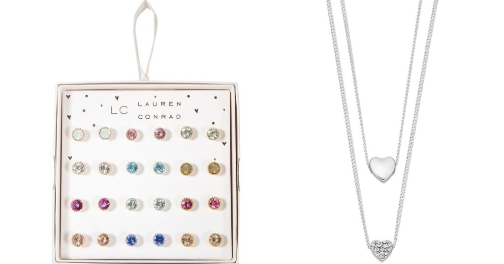 Lauren Conrad Earring Set in a box and Two Heart Necklaces