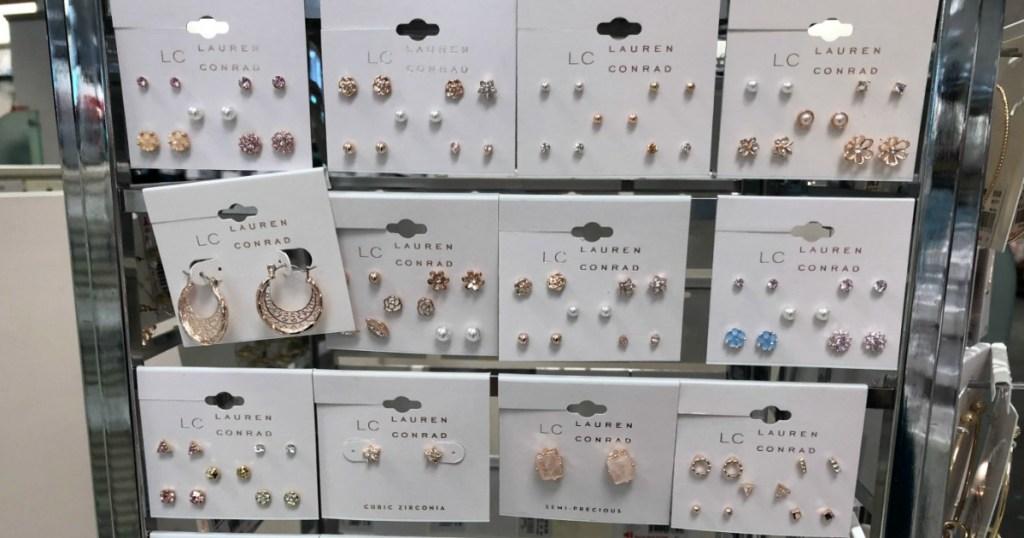 Lauren Conrad earrings hanging on display at Kohl's