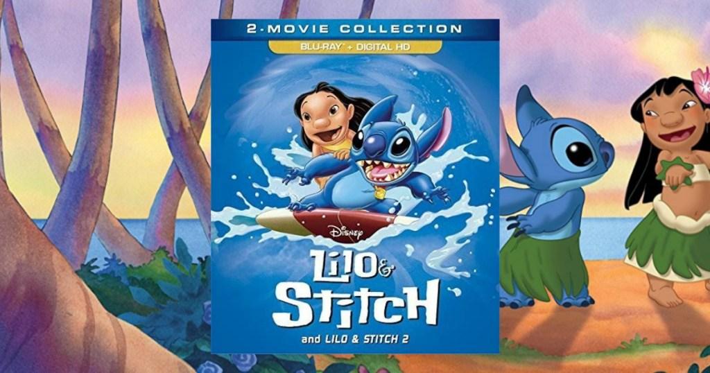 Lilo & Stitch Blu-ray movie case in front of movie scene