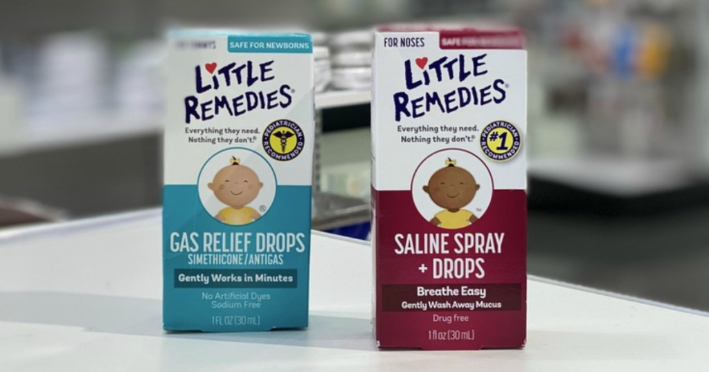 Little Remedies Gas Relief Drops and Saline Spray on counter at Target