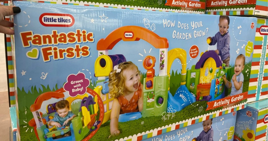 Kids garden themed playset in package on display at Walmart