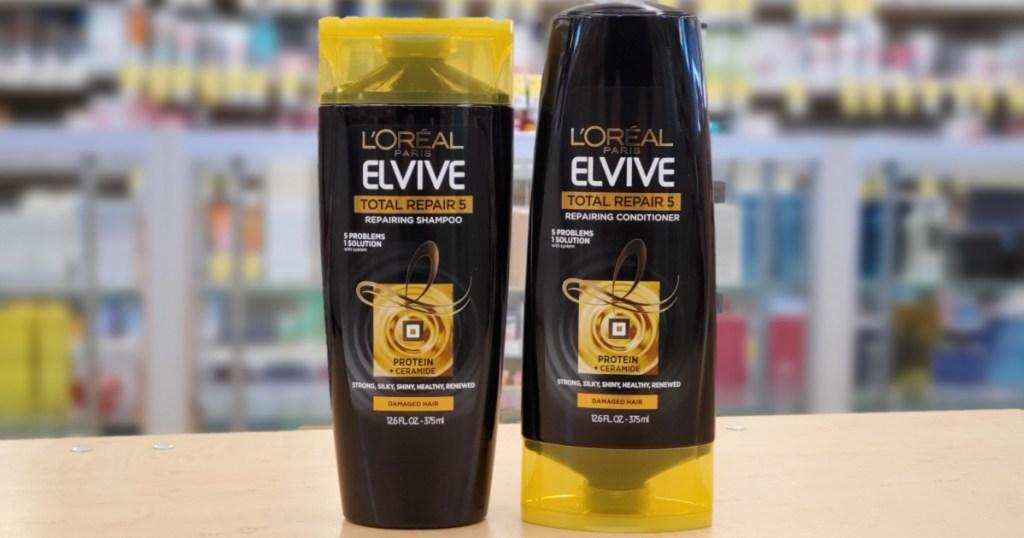 L'oreal elvive shampoo total repair on shelf at walgreens