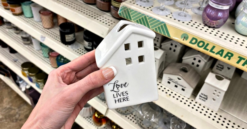 Love Lives Here Candle Holder at Dollar Tree