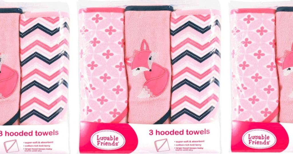 3-count pack of baby luvable towels in pink
