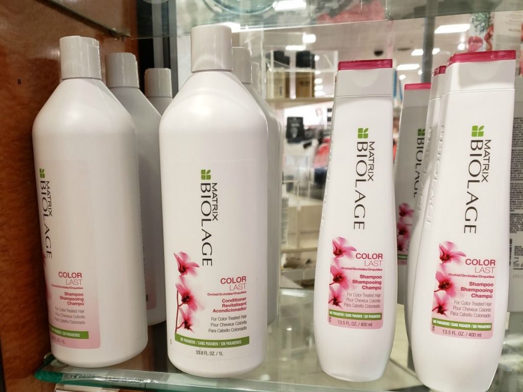 Matrix Biology Colorlast Hair Care on store shelf