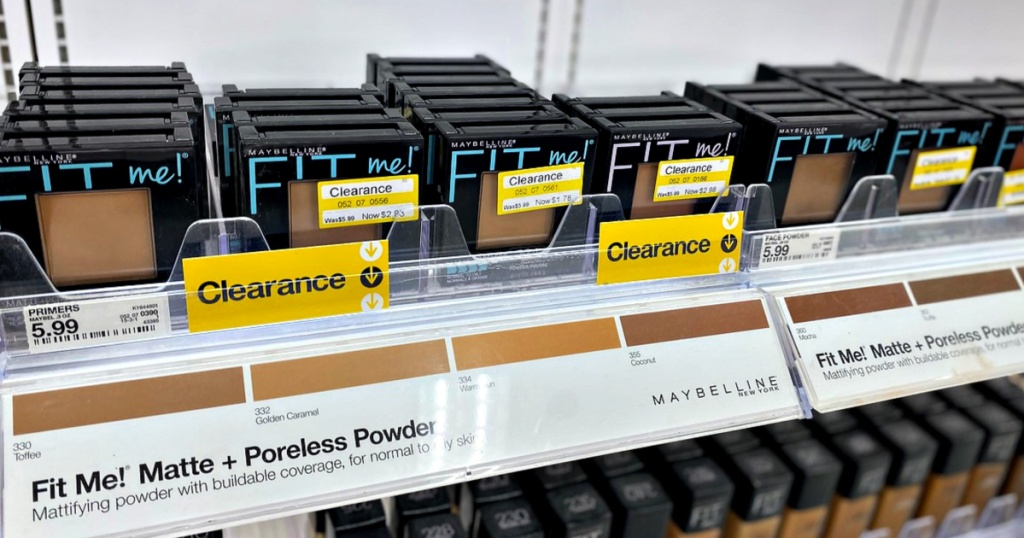 Maybelline Fit Me Matte Powder on shelf at Target with clearance labels