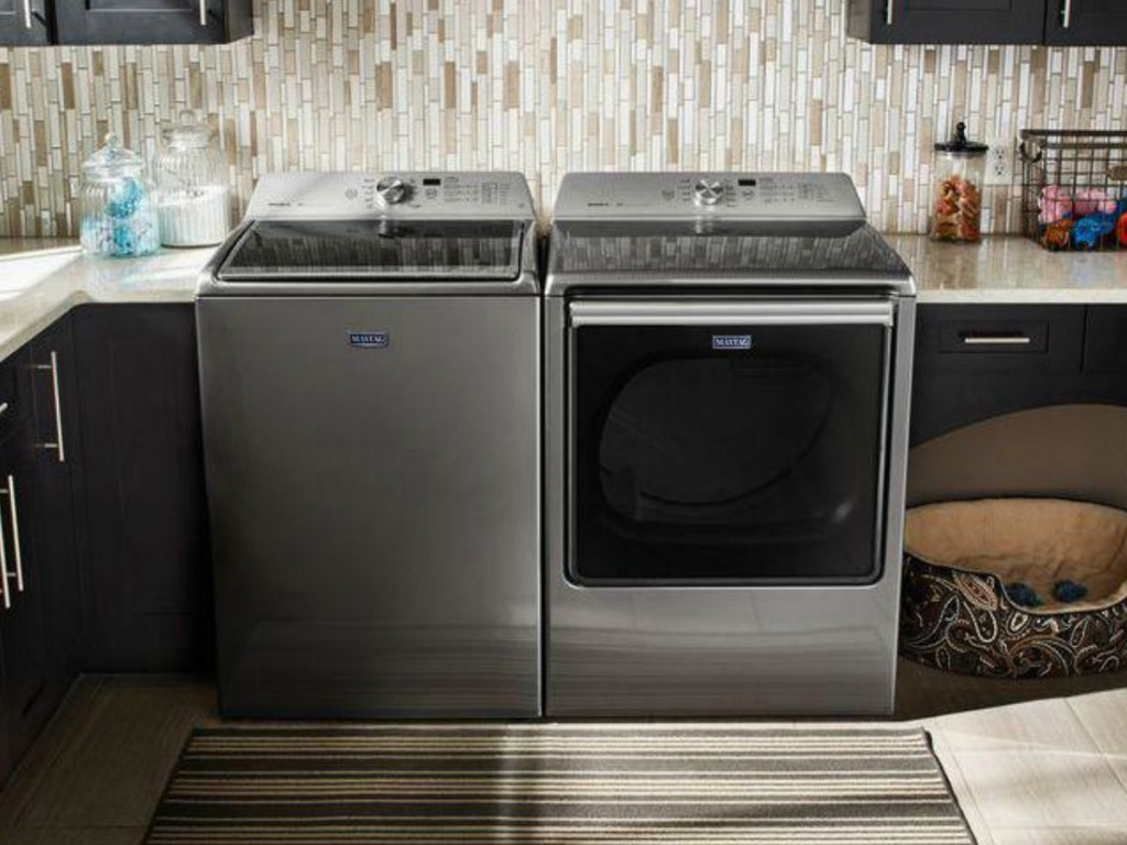 Matching set of washer and dryer in laundry room