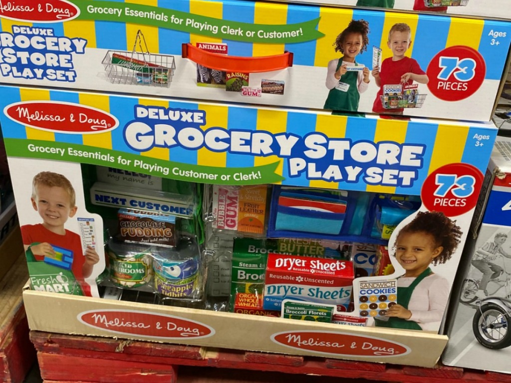 Large box of grocery store play accessories