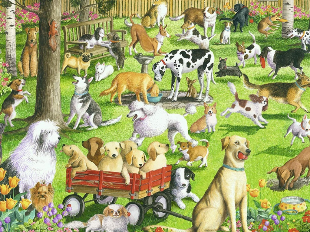 puzzle with picture of dogs in a park