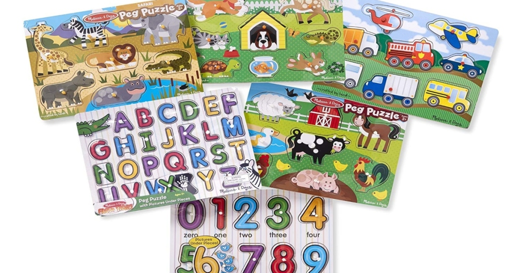 six different Melissa and Doug Peg Puzzles. in rows of three, then two then one