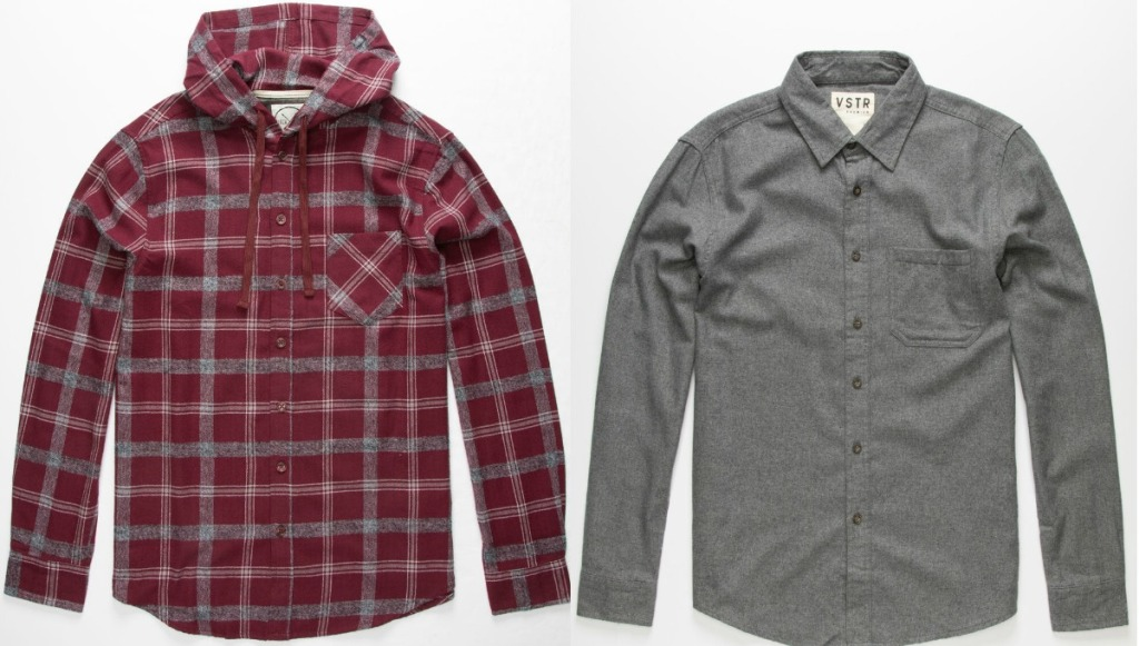 Two styles of men's flannel shirts