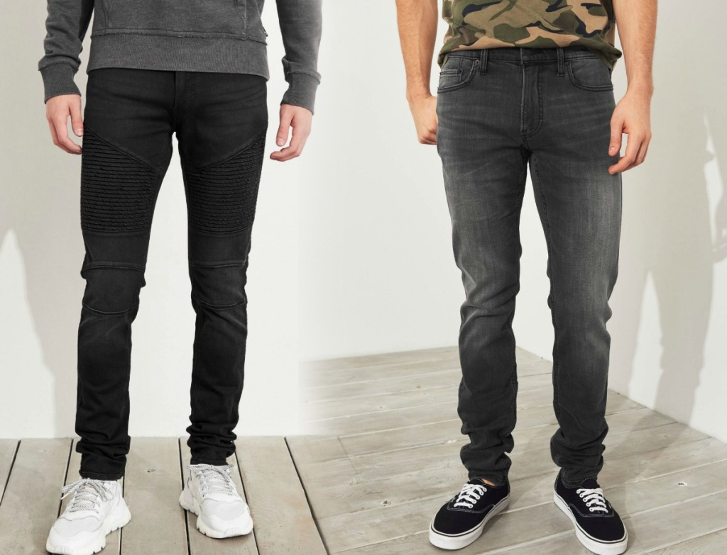 Men wearing two different styles of jeans
