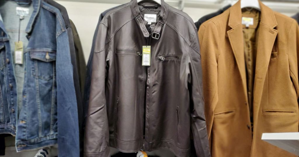 leather jacket, jean jacket, and brown jacket at target