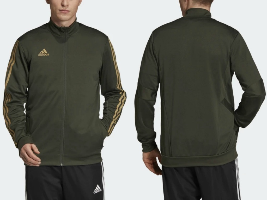 Man wearing adidas jacket - front and back view