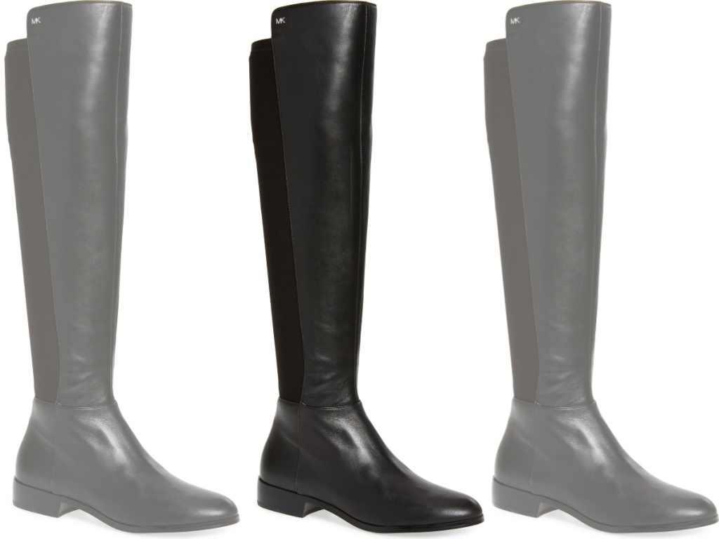 tall black boots with the MK logo on the side