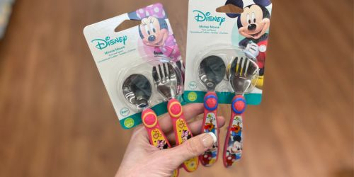 The First Years Disney Minnie or Mickey Mouse Stainless Steel Flatware Set Only $2.48