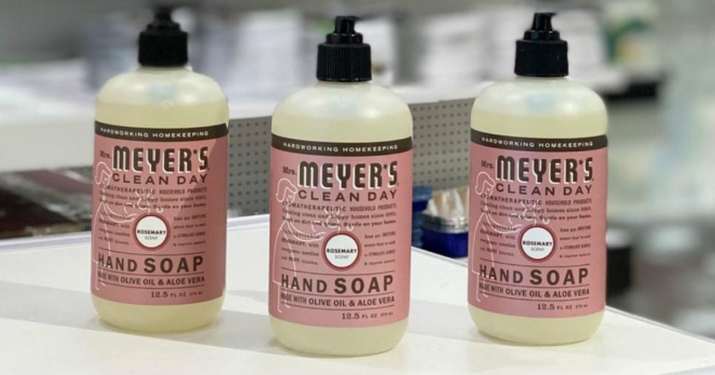 3 bottles of Mrs. Meyer's Rosemary hand soap