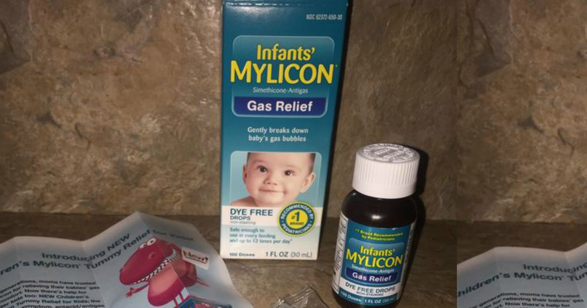 Mylicon Gas Relief Drops in and out of package on countertop
