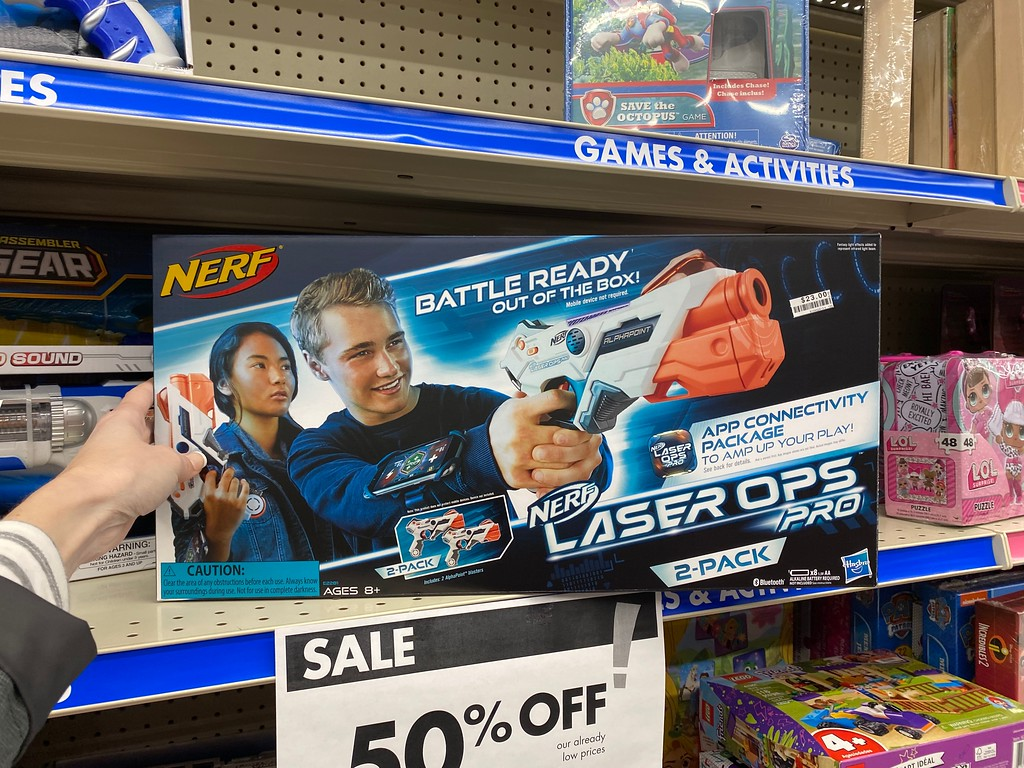 hand holding NERF Laser Ops Pro at Big Lots